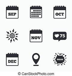 octobre, calendar., novembre, septembre, décembre