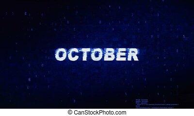 octobre, texte, animation., numérique, effet, déformation, glitch, bruit, erreur, tic