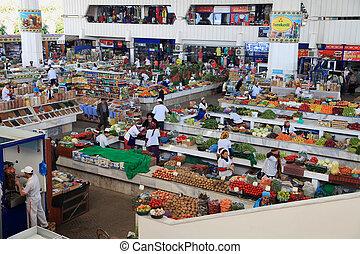 "octobre, turkménistan, 10, agriculteurs, ""russk, -, ashgabad, 2014., marché"