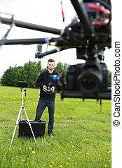octocopter, 作動, エンジニア, 公園, uav