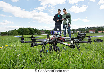 octocopter, 公園, 技術者, uav