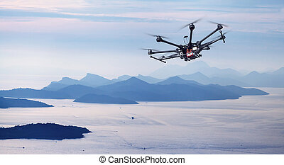 Octocopter, copter, drone - Copter flight over the ...
