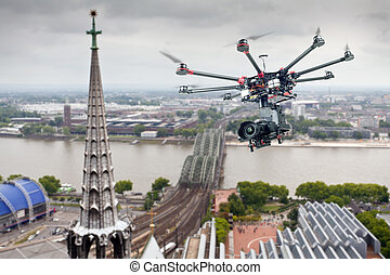 Octocopter, copter, drone - Drone flying in the sky against ...
