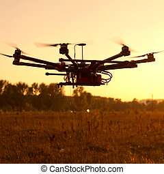 Octocopter, copter, drone - Drone on a background of a ...