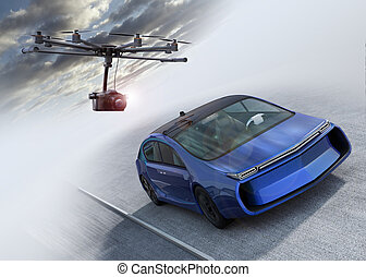 Octocopter following a car for shooting film. 3D rendering image.