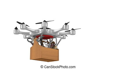 octocopter with toolbox on white background. Isolated 3d...