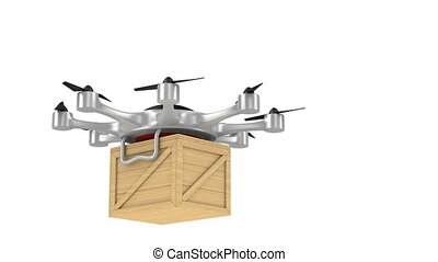 octocopter with wooden box on white background. Isolated 3d render