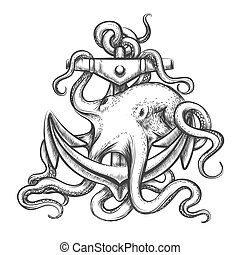Octopus and Anchor - Octopus with an anchor drawn in tattoo...