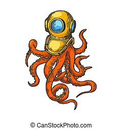Octopus and old diver helmet color sketch engraving vector illustration. Scratch board style imitation. Black and white hand drawn image.