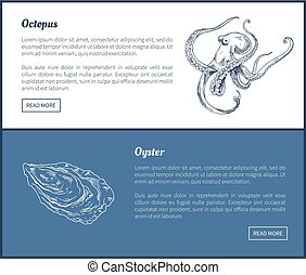 Octopus and Oyster Seafood Double Color Graphic