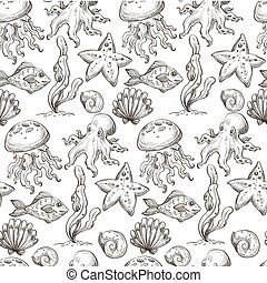 Octopus and seashell, fishes and seaweed aquarium seamless pattern