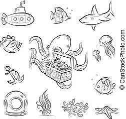 Octopus and the chest - Set of vector cartoons on deep...