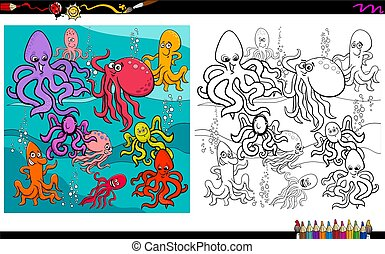 octopus animal characters coloring book