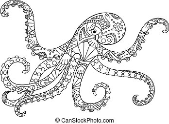 Octopus - antistress coloring book - linear vector illustration for coloring. Outline. Hand picture. Octopus, ocean dweller - picture with a marine ornament for a coloring book