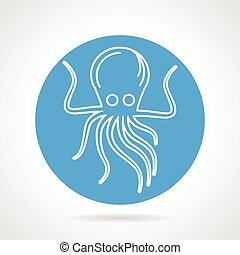 Octopus blue round vector icon