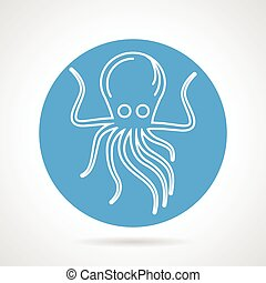 Octopus blue round vector icon