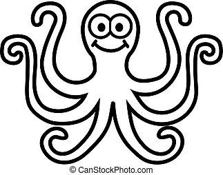 Octopus cartoon contour