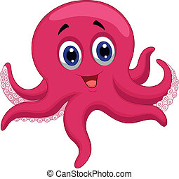 Octopus cartoon  - Vector illustration of Octopus cartoon