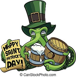 Octopus celebrating Patricks Day - Vector colourful...
