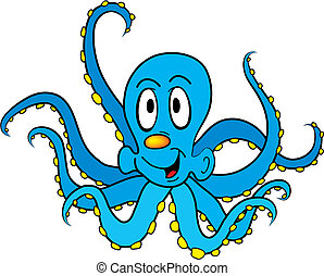 Octopus - Funny cartoon octopus isolated on white background