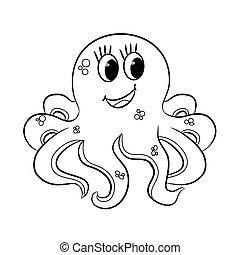 octopus., dessin animé, esquissé