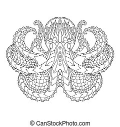 Octopus. Ethnic patterned vector illustration. African,...