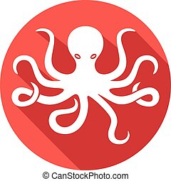 octopus flat icon (octopus and tentacles)