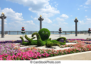 Octopus, floral arrangement on the seafront of Anapa