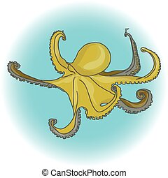 octopus green isolated