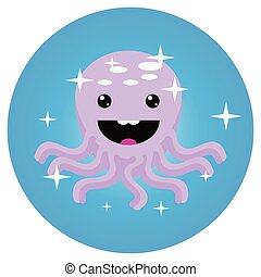 Octopus icon app mobile flat
