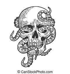 Octopus in human skull engraving vector illustration....