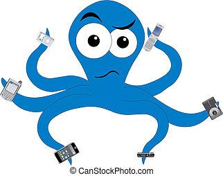 Octopus in tech confusion - unhappy sea creature