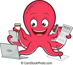 Octopus multitasking - Clipart picture of an octopus ...