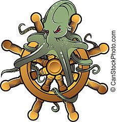Danger octopus on steering wheel for tattoo design