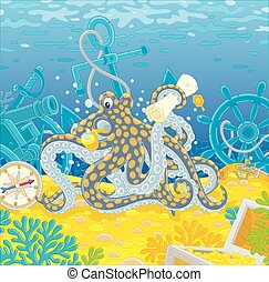 Octopus pirate with a map of a treasure island - Sea corsair...