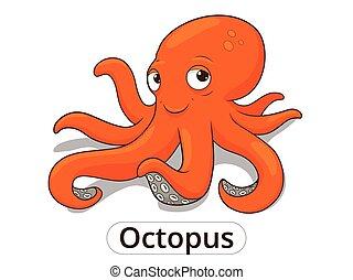 Octopus sea animal fish cartoon illustration - Octopus sea...