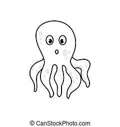 Octopus sea animal icon vector illustration graphic design