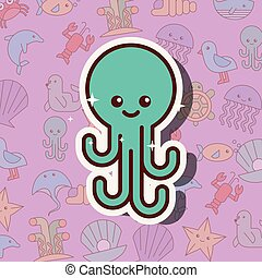 octopus sea life cartoon