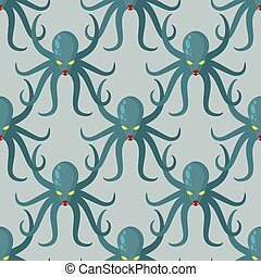 Octopus seamless pattern. Vector background green kraken. Retro fabric texture Cthulhu. Dreaded clam monster with tentacles