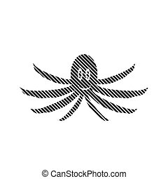 Octopus sign on white.