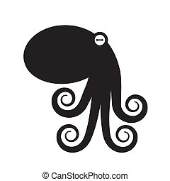 Octopus silhouette icon on a white isolated background. Vector image