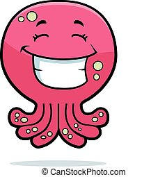 Octopus Smiling - A cartoon pink octopus smiling and happy.