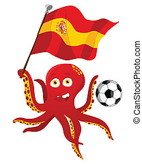 Octopus Soccer Player Holding Spain Flag. Editable Vector Illustration