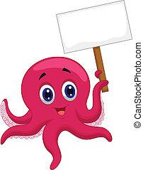 octopus, spotprent, vasthouden, leeg teken