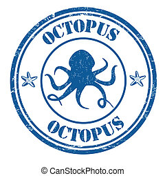 Octopus stamp - Octopus grunge rubber stamp on white, vector...
