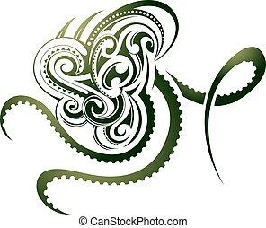 Octopus tattoo - Octopus shape as decorative Maori tattoo...