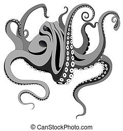 Vector octopus represented in the form of a tattoo.