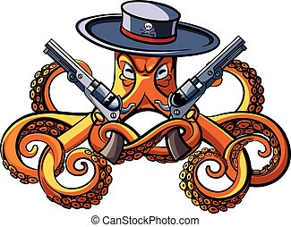 Octopus the Bandit - Vector colourful illustration of...