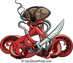 Octopus the Pirate - Vector colourful illustration of one-...