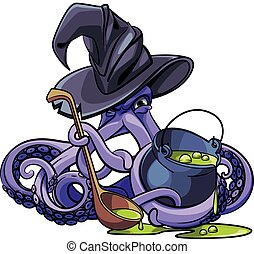 Octopus the Witch - Vector colourful illustration of octopus...